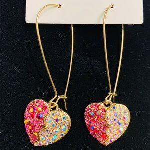 Betsey Johnson drop heart earrings